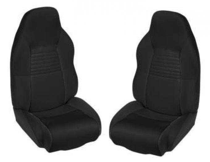 Corvette Neoprene Standard Seat Covers, No Logo, Black/Black, 1994-1996