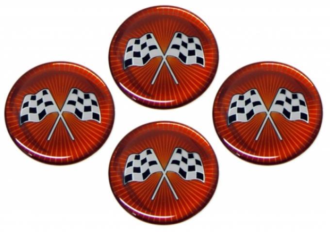 Corvette Emblem Set, Cross Flag Red Sunburst, Set of 4