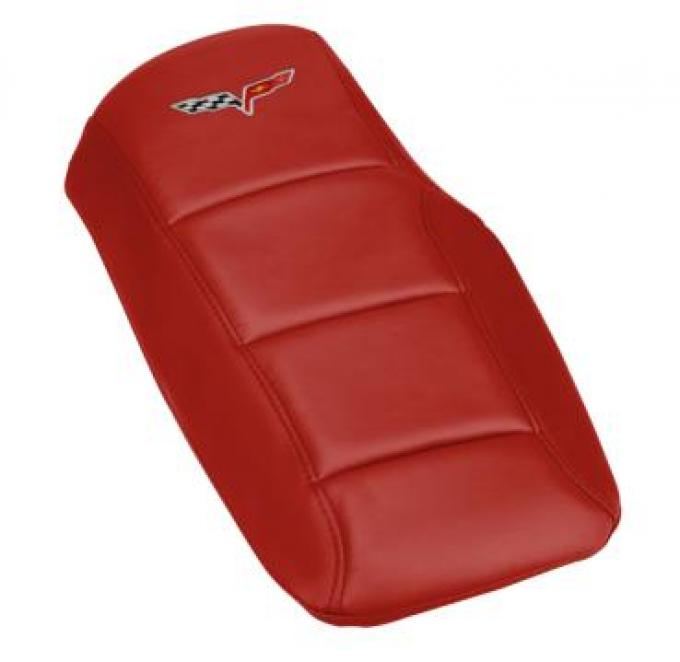 Corvette Console Cushion, with Embroidered C6 Logo, Victory Red, 2005-2013