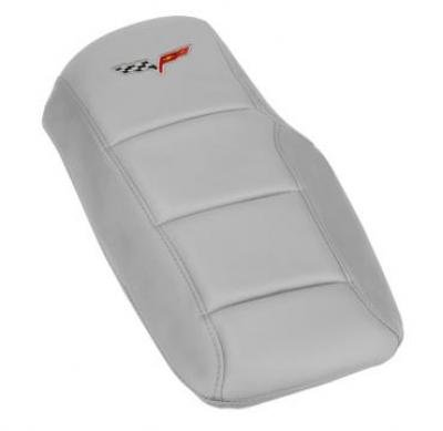 Corvette Console Cushion, with Embroidered C6 Logo, Blade Silver, 2005-2013