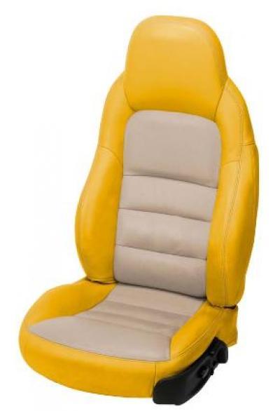 Corvette 2-Tone Leather Standard Seat Covers, Velocity Yellow/Cashmere, 2005-2013