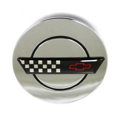 Corvette Wheel Center Cap, Chrome, with Emblem, for ZR1 Wheels, 1991-1996