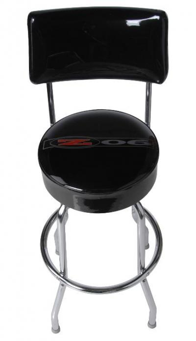 Corvette Stool, Black with Back Rest, C5 Z06 Emblem