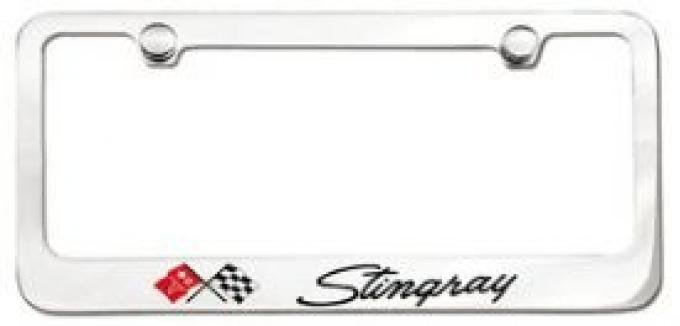 Corvette Elite License Frame, 69-76 Stingray Script with Single Logo