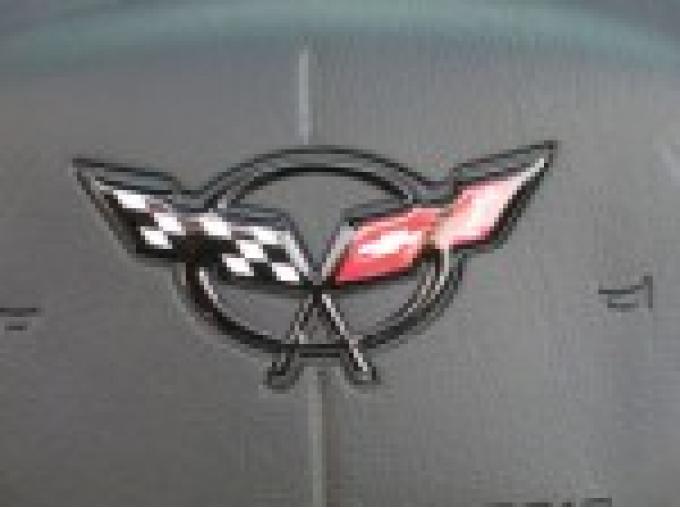 Corvette Steering Wheel Emblem, Domed Yellow, 1997-2004