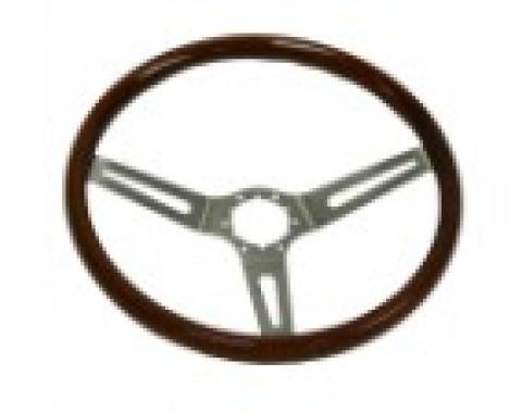 """Corvette Steering Wheel, Simulated Walnut Wood, 14.5"""",  1963-1966"""