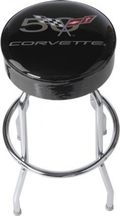 Corvette Counter Stool, 50th Anniversary Emblem