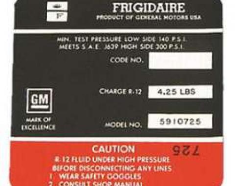 Corvette Decal, Air Conditioning Compressor Frigidaire, 1968