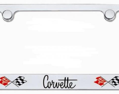 Corvette Elite License Frame, Corvette Script with Dual Logo