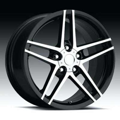 """Corvette C6/Z06 Black with Machine Face Wheel, 18"""" x 8.5"""", +56 Offset, 2005-2013"""