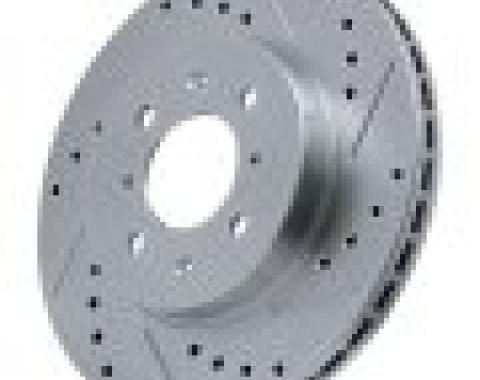 Corvette Brake Rotor, Right, Rear, Slotted and Cross Drilled, 1965-1982