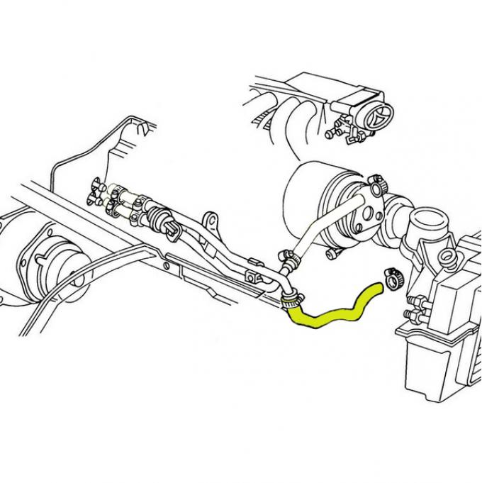 Corvette Heater Hose, Coolant/Water Shut-Off Valve to Water Pump, without KC4, 1985-1987
