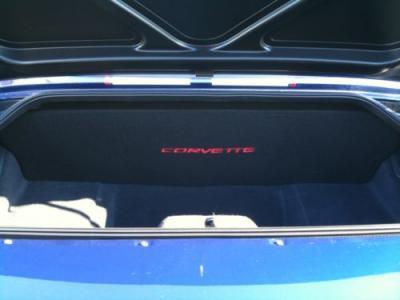 """Corvette Compartment Divider, With Carpet & C5 Script, """"Quiet Ride"""", 1999-2004"""