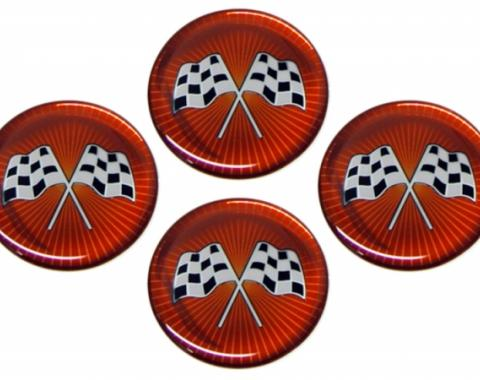 Corvette Emblem Set, Cross Flag Red Sunburst, Set of 4