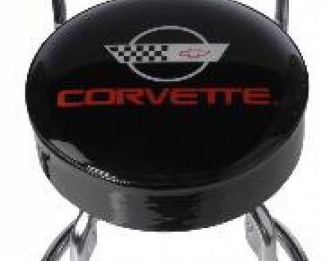 Corvette Stool, Black with Back Rest, C4 Emblem