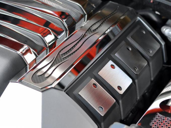 2010-2015 Camaro - Fuel Rail Covers 'True Flame' Style - Polished Stainless Steel, Choose Color 103011