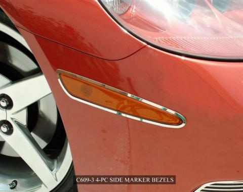 American Car Craft 2005-2013 Chevrolet Corvette Side Marker Bezels Polished 4pc C6 042066