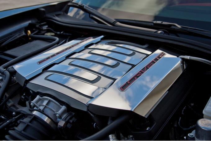 American Car Craft 2008-2019 Chevrolet Corvette Fuel Rail Cover Factory Overlays Polished w/Satin Trim 2pc 053003
