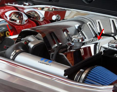 American Car Craft 2008-2019 Chevrolet Corvette Fuel Rail Covers Polished/Perf Plain w/aftermarket air intake 153028