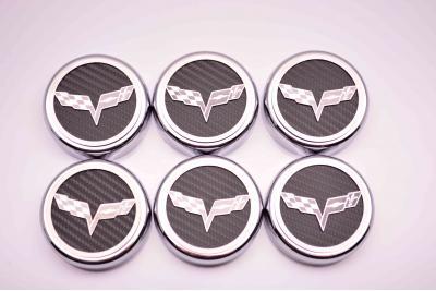 American Car Craft Cap Cover Set Crossed Flags 6pc Manual 043083-BSRD