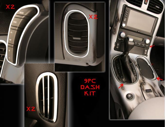 American Car Craft 2005-2013 Chevrolet Corvette Dash Kit Polished 9pc 041041