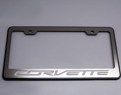 "American Car Craft Rear Tag Frame PowderCoatBlack w/Stainless Steel ""Corvette"" Lettering 052083-BBLK"