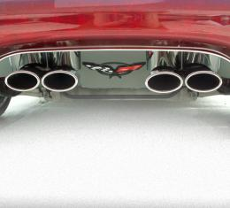 American Car Craft Chevrolet Corvette 1997-2004  Exhaust Filler Panel Polished w/ Crossed Flags Emblem GML Stock 032003