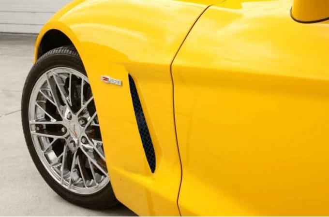 American Car Craft 2005-2013 Chevrolet Corvette Vent Grilles Laser Mesh Side 2pc C6 Black Powder Coat Stealth 042096