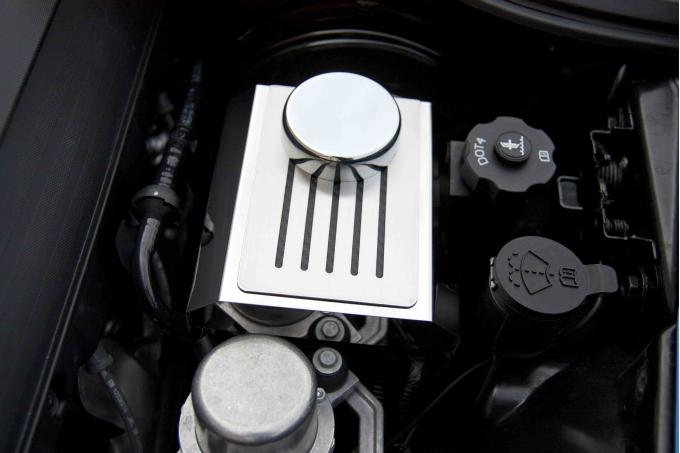 2014-2019 Z06/Z51/ZR1/C7- Brake Master Cylinder Cover Polished w/Ribbed Slots - Choose Manual or Auto 053039