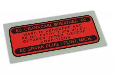 Corvette Decal, Oil Filler Cap, 1955-1958