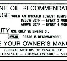 Corvette Canadian Oil Change Decal, 1968-1969