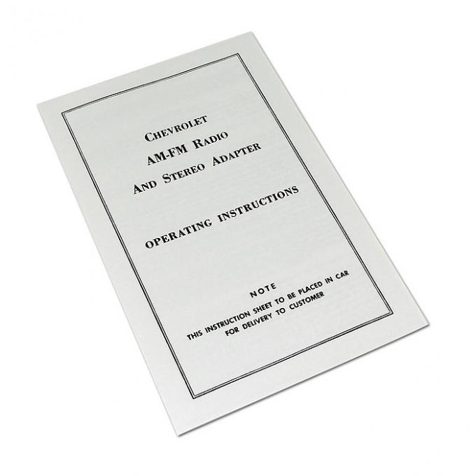 Corvette Instructions, AM/FM Stereo, 1968-1976