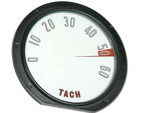 Corvette Tachometer Face, with Numbers, 6000 RPM, 1958