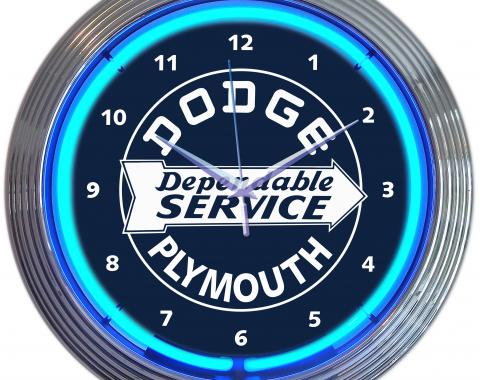 Neonetics Neon Clocks, Dodge Dependable Service Neon Clock