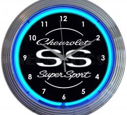Neonetics Neon Clocks, Chevrolet Ss Super Sport Blue Neon Clock