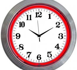 Neonetics Neon Clocks, Chrome Red Standard Neon Clock