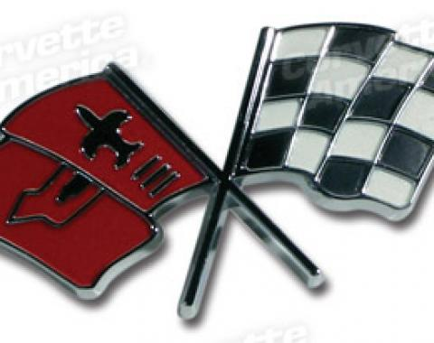 Corvette Emblem, Fuel Injection Plenum Cover Flag, 1963-1965