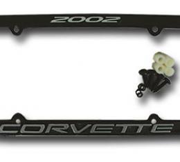 Corvette License Plate Frame, Corvette Black, 2002