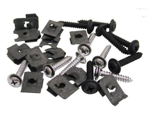 Corvette Grille Mount Screw & Nut Set, 24 Piece, 1971-1972