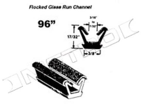 "Flocked Glass Run Channel, Universal, 96"" Long"