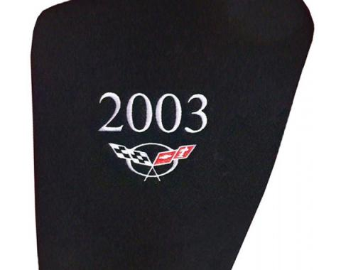 Corvette Hood Liner, Embroidered With Year & Logo, 1997-2004