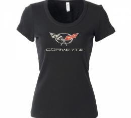 Corvette C5 Corvette Logo Rhinestone Ladies Tee Shirt, Black