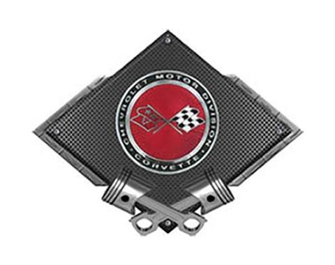 "Corvette C3 Crossed Flags Sunburst Emblem Metal Sign, BlackCarbon Fiber, Crossed Pistons, 25"" X 19"""