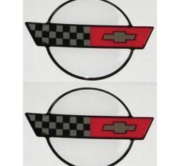 "Corvette C4 3D Domed Logo Decals 2.27"" X 1.87"", 1984-1990"