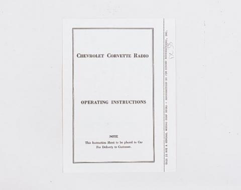 Corvette Radio Instructions Booklet, 1953-1957