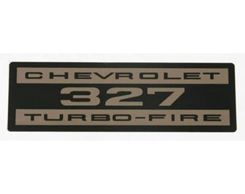 Corvette Decals, Valve Cover Chevrolet 327 Turbo Fire Metal, 1962-1963