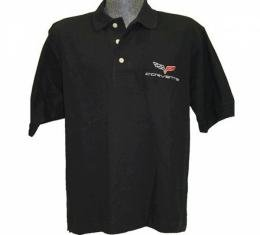 Corvette C3 1969-1972 Men's Custom Embroidered Pima Cotton Polo, Black, S-4X
