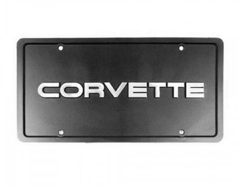 Corvette Front License Plate, Black with Corvette Script, 1984-1996