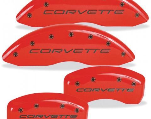 Corvette Red With Black Script Caliper Cover Set, 1997-2004
