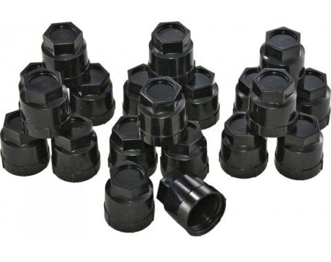 Corvette Plastic Lug Nut Caps, Black, Factory Style, 1984-1985